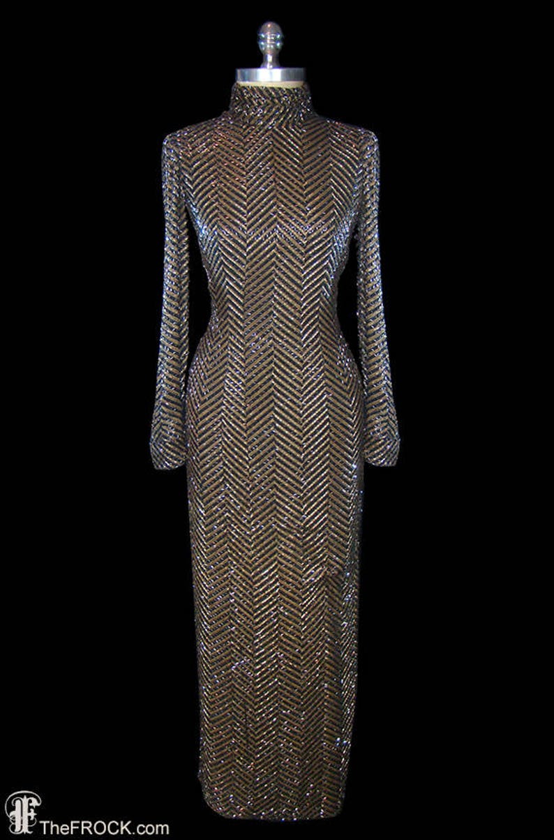 627a19a662d Bob Mackie vintage beaded gown heavily beaded couture dress