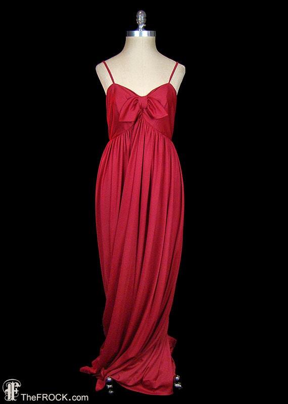 Jean Muir jersey maxi dress, rich red / raspberry