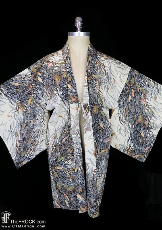 Old silk kimono, robe or jacket or dressing gown,