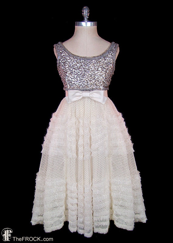 Norman Hartnell dress, silver beaded & sequined ta