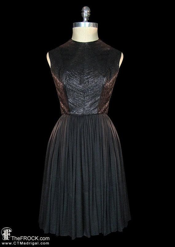 Travilla dress, 1950s vintage black silk evening … - image 1