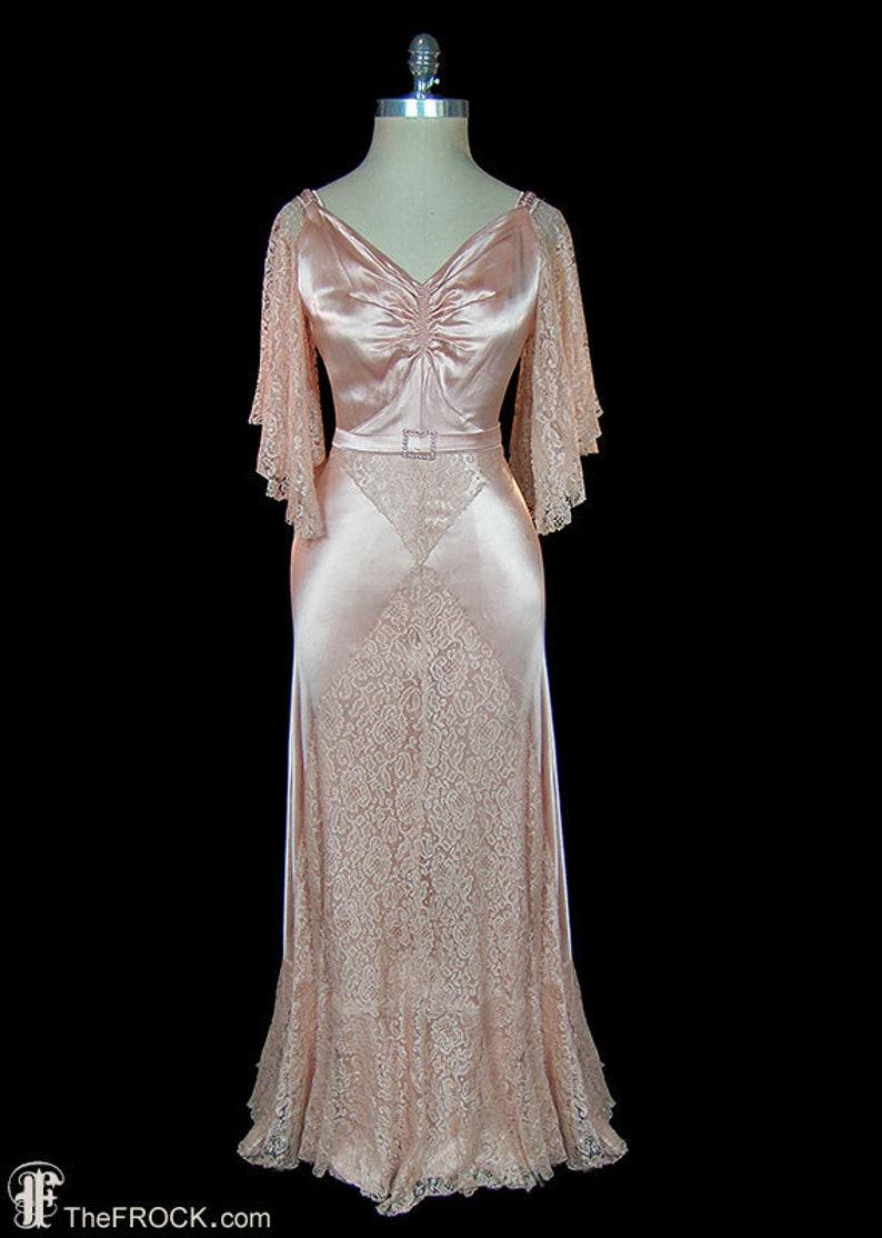 d522dc23b4 1930s blush pink evening gown or wedding dress antique