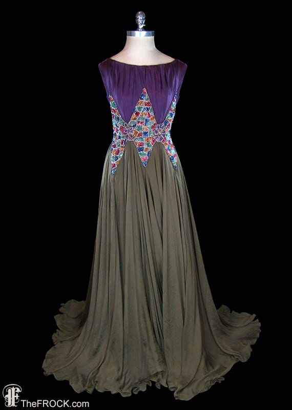 1930s beaded sequined silk chiffon gown, art deco