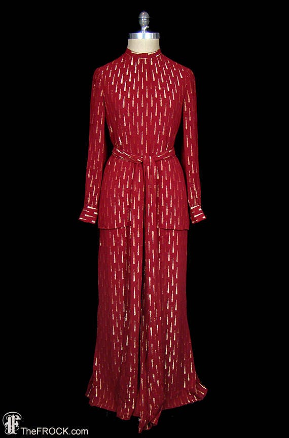Adele Simpson red georgette dress, gown, ensemble,