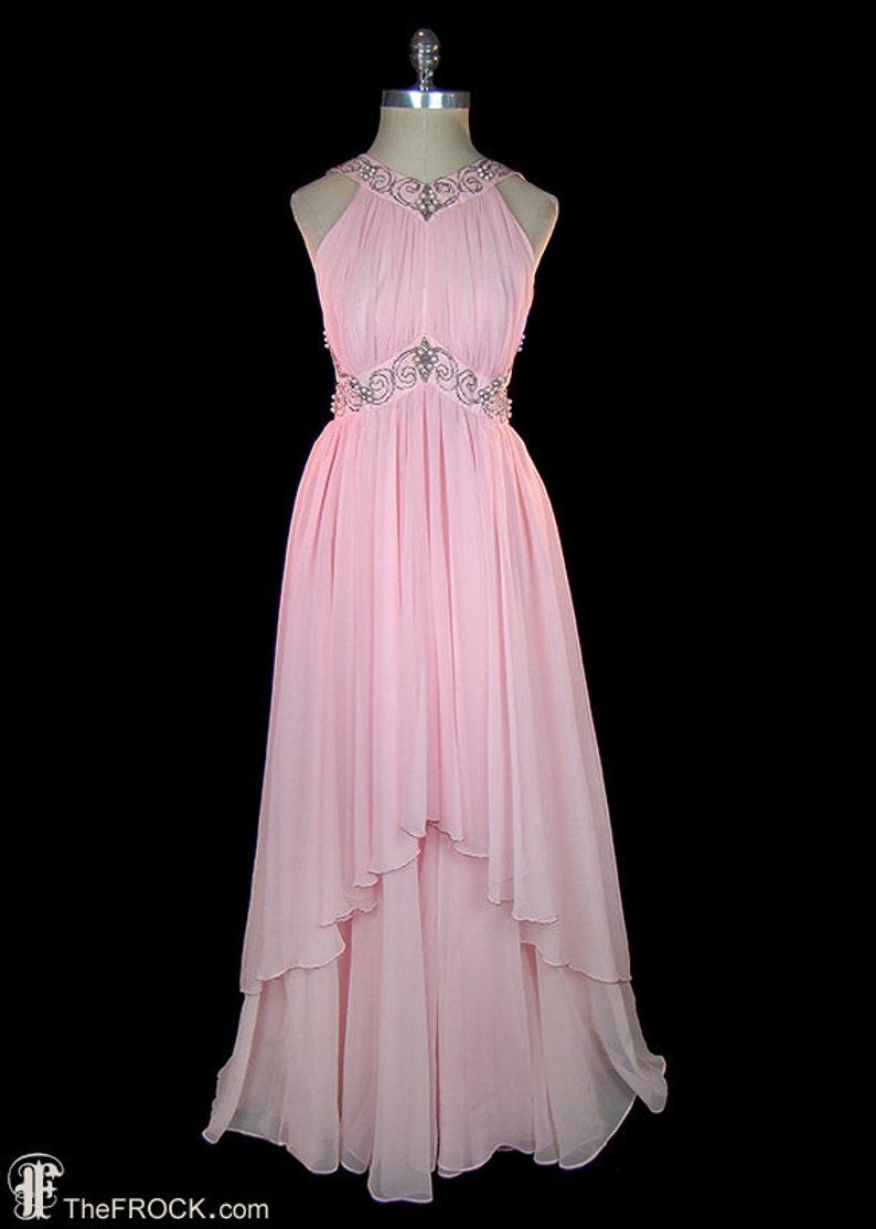 c57dd07d9d50 Bergdorf Goodman 1960s pink chiffon evening or wedding dress | Etsy