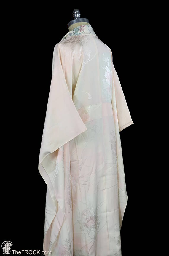 1930s Art Deco dressing gown, kimono robe, silk f… - image 4