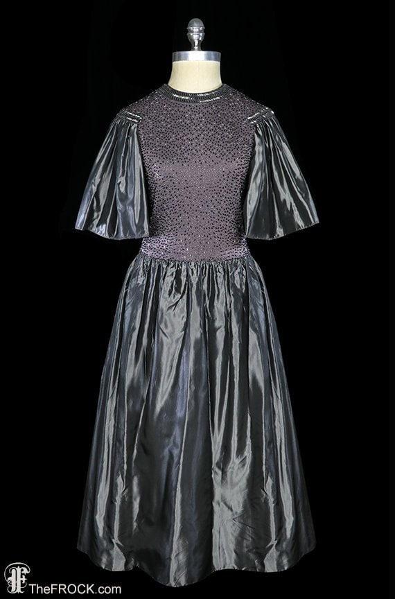 Pauline Trigere beaded dress, vintage French Ameri