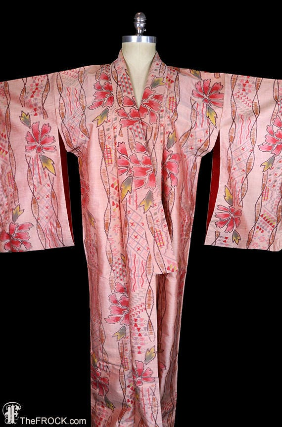 Antique ikat silk kimono, robe or coat or dressing
