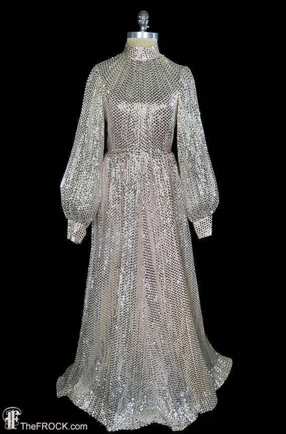 Lisa Meril sequined gown, silver sequin pink silk