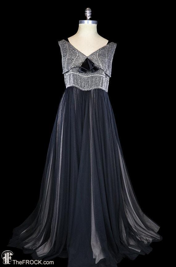1930s art deco beaded gown, post flapper dress, bl