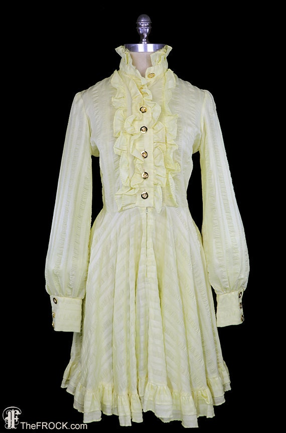 Jean Varon dress, 1960s / 1970s ruffled shirt dres