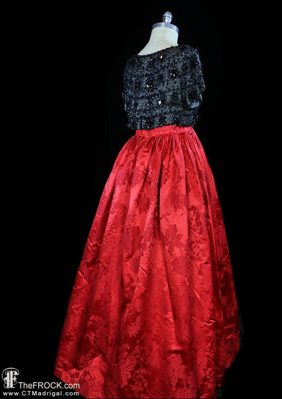 Balenciaga red silk gown, heavily beaded dress, r… - image 5
