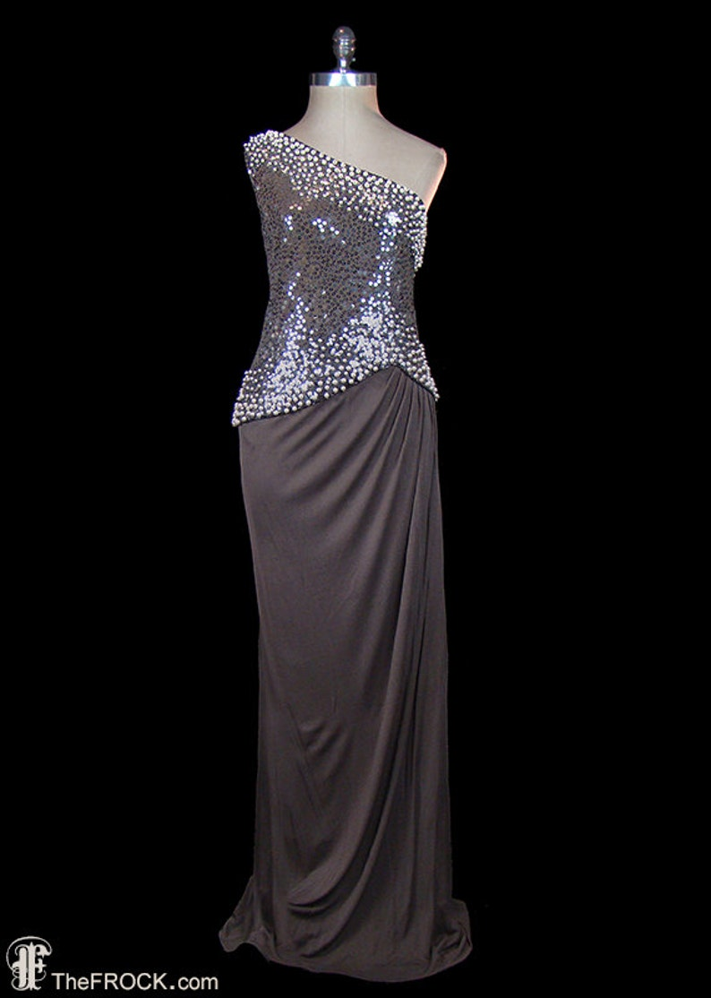 ac9dc16f27 Saks 5th Ave one-shoulder grecian goddess gown pearl beaded