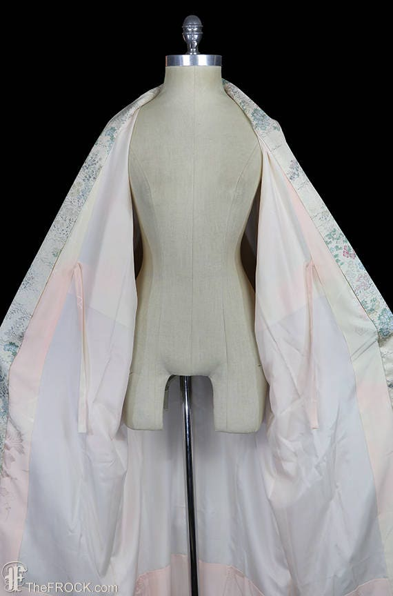 1930s Art Deco dressing gown, kimono robe, silk f… - image 6