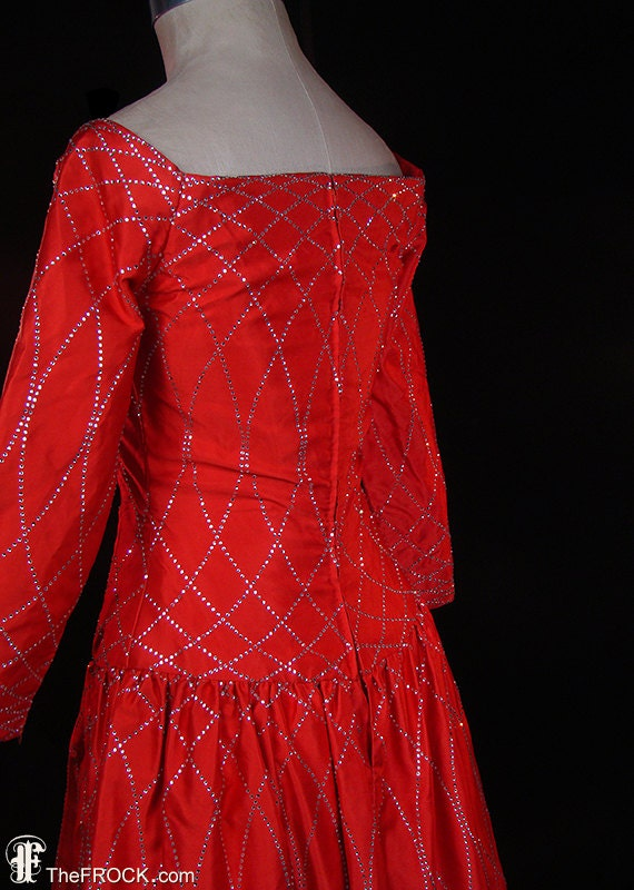 Arnold Scaasi vintage red silk satin couture even… - image 3