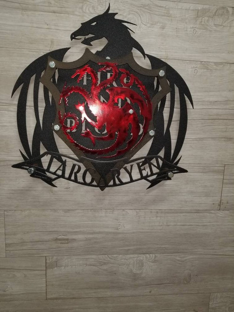 HOUSE TARGARYEN Coat of Arms from the Game of Thrones series, 4 layered  shield 3d Metal / Wall Art (Collect them all!)