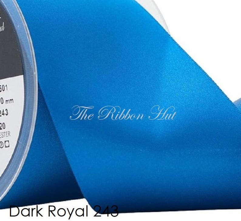 Double Faced Satin Ribbon 673 Berisfords MALIBU BLUE 3mm to 70mm