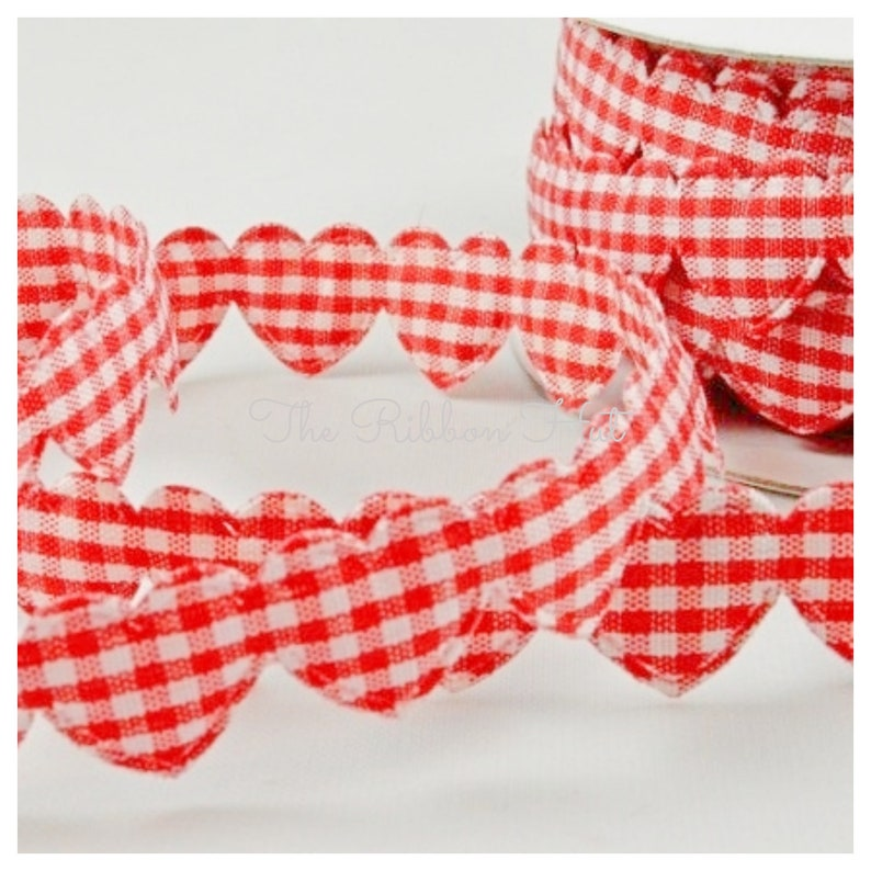 Padded Hearts Gingham Fabric Weddings,Cake Decorations,Crafts,Scrap booking,Embellishments Per Metre Cut Length 15 mm Check  Plaid