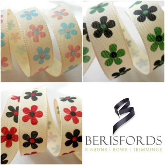 1m Berisfords 15mm Printed Christmas Ribbon Choice Designs For Card Making Craft