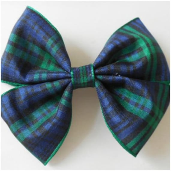 "4/"" inch Tartan Ribbon Hair Bows-Partially Covered Double Prong Pinch Clips"