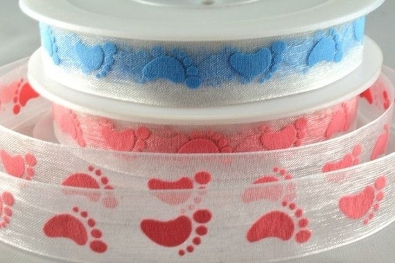 """3//8/"""" 10mm WHITE BLUE BABY FOOTPRINT STARS grosgrain ribbon 3 mtrs crafts cards"""