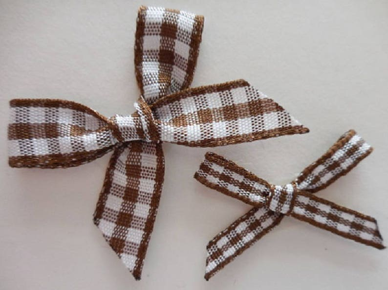 GINGHAM RIBBON BOWS 7MM WEDDING ARTS AND CRAFTS CARD MAKING EMBELLISHMENTS