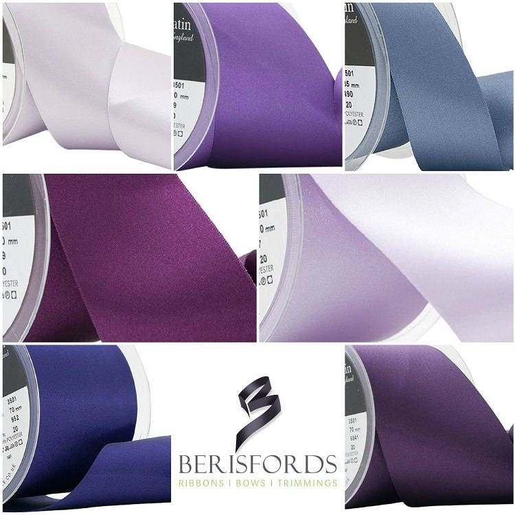 70mm Berisfords Wide Double Faced Polyester Satin Ribbon Per metre Mauve
