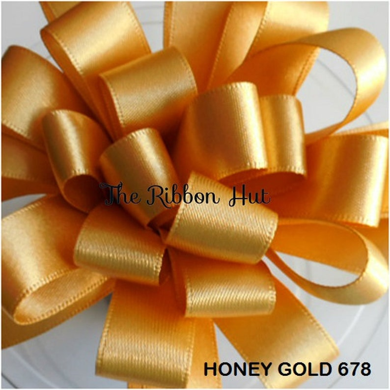 Double Faced Satin by Berisfords-Honey Gold-9 Widths-2 Meter and 5 Meter Lengths-Weddings,Cake Decorations,Crafts,Embellishments,Trimmings