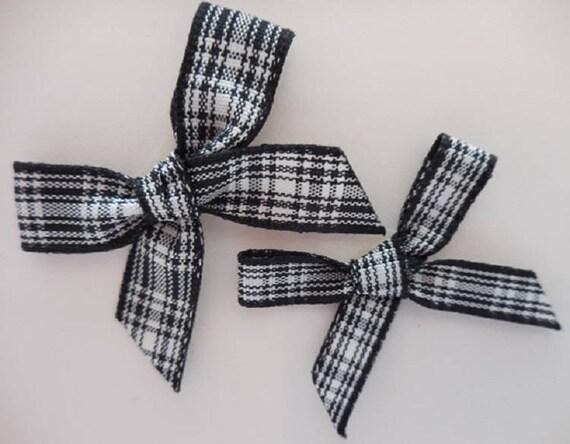 Tartan Ribbon Bows-Royal Stewart//Blackwatch-5cm x 4 cm-Wedding Bow,Christmas Bow