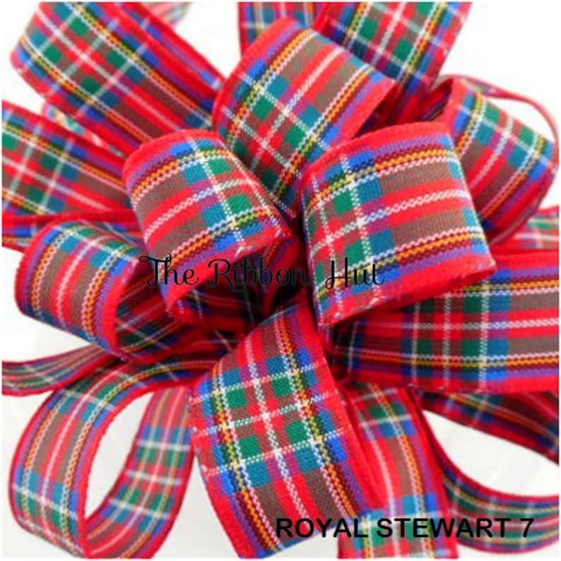 2mtrs  5mtrs Lengths Weddings,Cake Decors,Crafts,Bows,D I Y Royal Stewart Tartan Ribbon 7 mm,10 mm,16 mm,25 mm,40 mm and 70 mm Widths