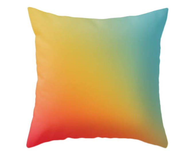 Gradient Ombre Red Yellow Blue Pillow