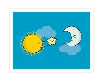 Sun and Moon Art Print - Cute Doodles