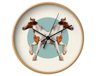Horses Wall Clock - Double Animals