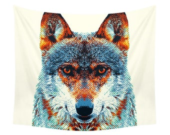 Wolf Tapestry - Colorful Animals