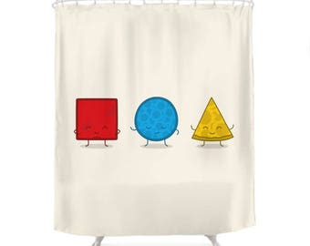Bauhaus Pizza Shower Curtain - Cute Doodles