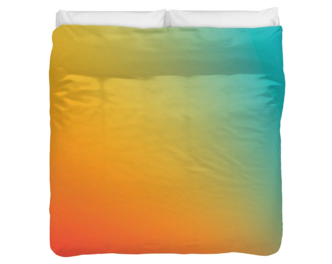 Gradient Ombre Red Yellow Blue Duvet Cover / Comforter