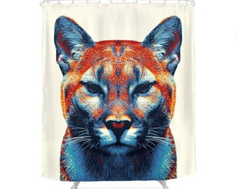 Puma Shower Curtain - Colorful Animals