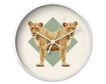 Lionesses Wall Clock - Double Animals