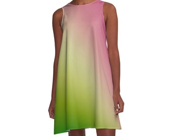 Green Pink Woman Dress - Gradient Ombre