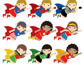 36 Kids Superhero Costumes Clipart Superheroes Kids Clipart Etsy