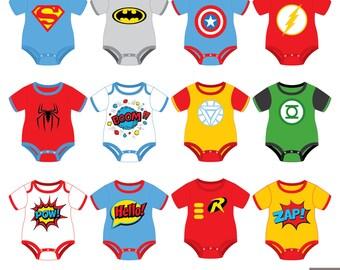 2dc5db16 Superheroes Baby Tees Clipart, Superhero Baby Bodysuit Clipart