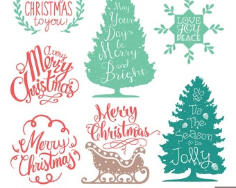 christmas labels digital clipart christmas typographic etsy