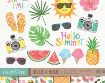 Summer Digital Clipart and Papers, Watercolor Summer Clipart, Summer Papers, Hello Summer Clipart, Tropical Clipart