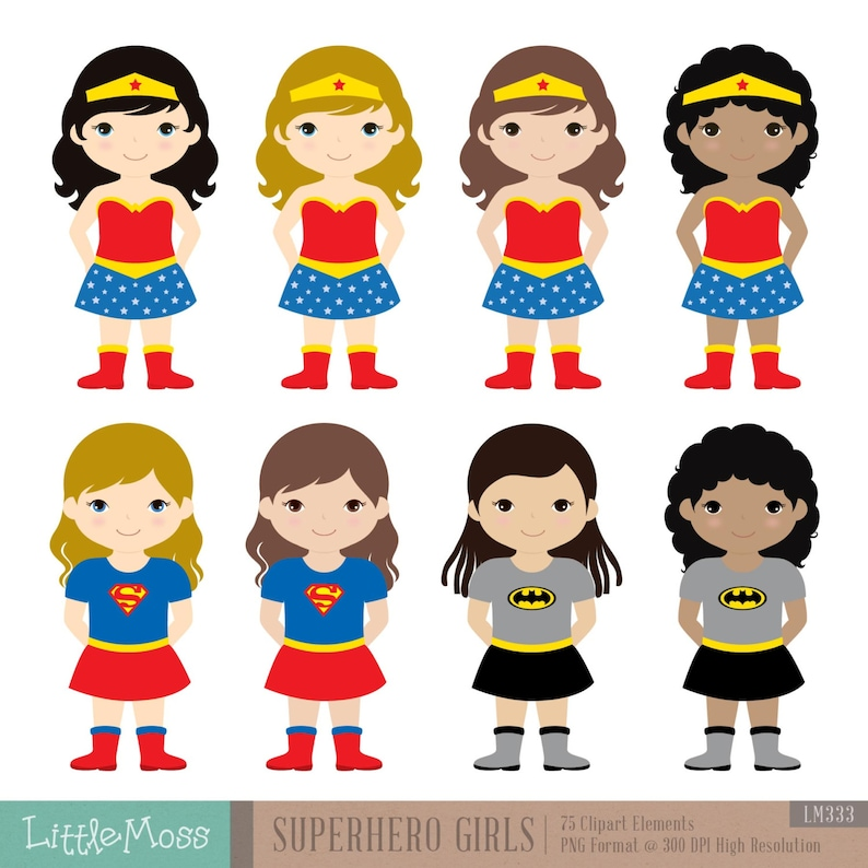 18 Girls Superhero Costumes Clipart Superheroes Clipart Etsy