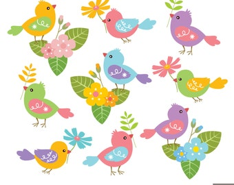 Spring Birds Digital Clipart, Bird Clipart, Flower Clipart