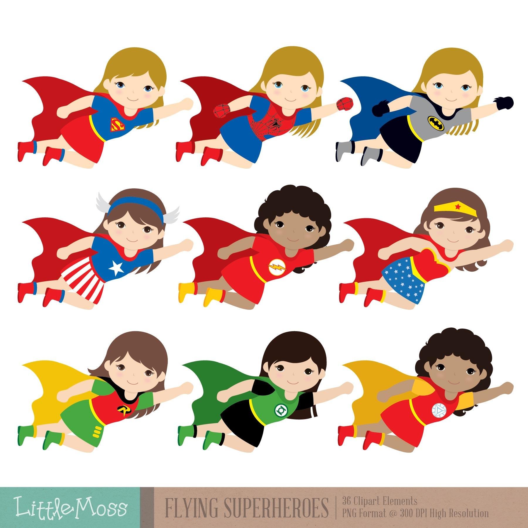 Flying Superhero Clipart Superheroes Kids Clipart | Etsy