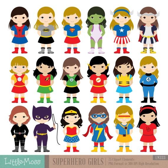 18 girls superhero costumes clipart superheroes clipart etsy rh etsy com girl superhero clip art black and white little girl superhero clipart