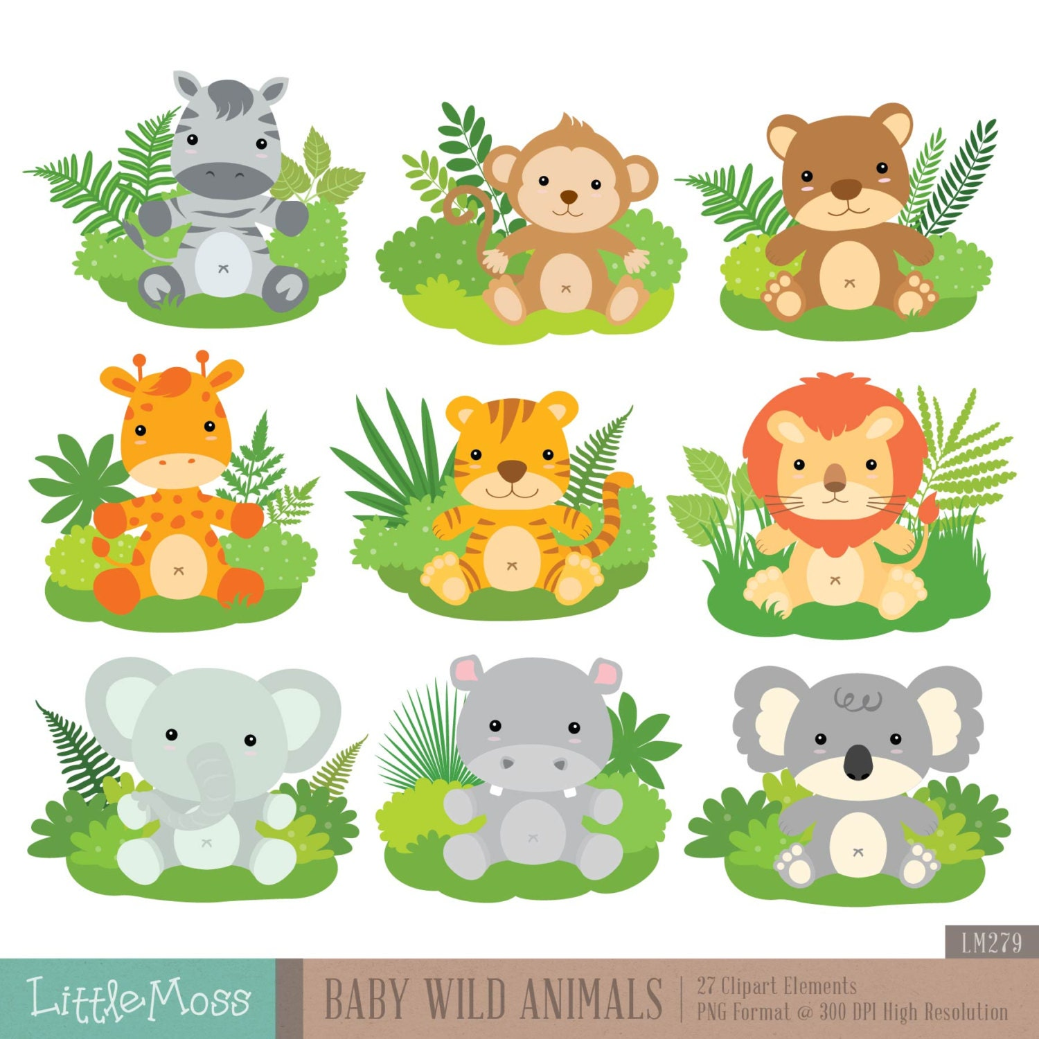 B b animaux sauvages num rique clipart etsy - Bebe animaux sauvage ...