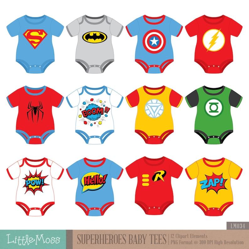 ef5230712 Superheroes Baby Tees Clipart Superhero Baby Bodysuit Clipart   Etsy