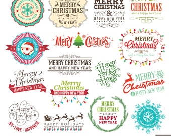 Christmas Labels Digital Clipart, Christmas Typographic, Christmas Decoration